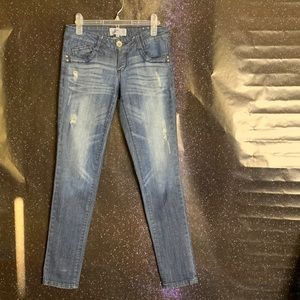 Jolt-Dark Wash Distressed Straight Leg Jeans 3